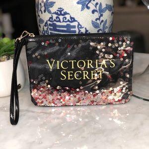 Victoria's Secret zippered bag Cosmetics Sequins😎